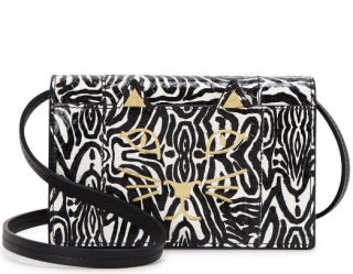 Charlotte Olympia Zebra Print Python Embossed Feline Crossbody Bag