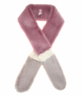 Shrimps Violet, Grey & White Foxy Faux Fur Scarf