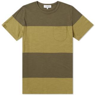 YMC green stripe baja pocket tee