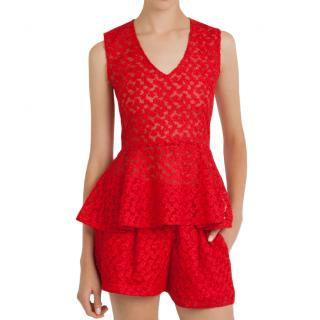 Maje red peplum top