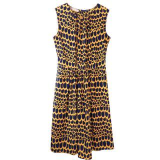 Stefanel Yellow & Blue Sleeveless Silk Dress