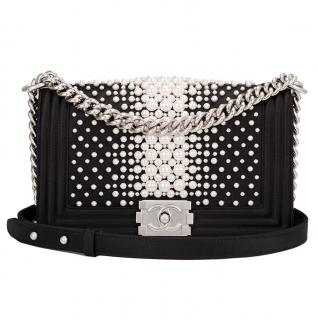 Chanel Runway Pearl Embellished Medium Boy Bag