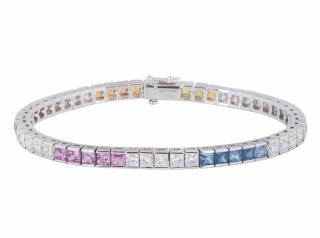Bespoke White Gold Diamond & Sapphire Line Bracelet