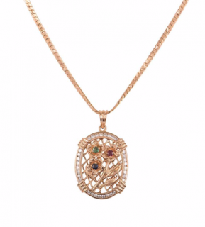 Bespoke Rose Gold Diamond Floral Pendant Necklace