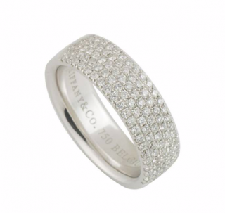 Tiffany & Co. White Gold Pave Diamond Band Ring