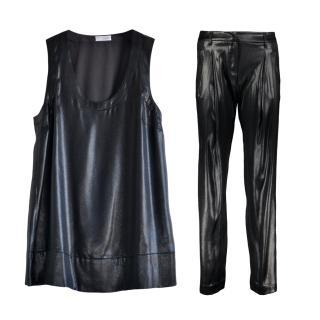 Brunello Cucinelli Black Metallic Silk Sleeveless Top & Trousers