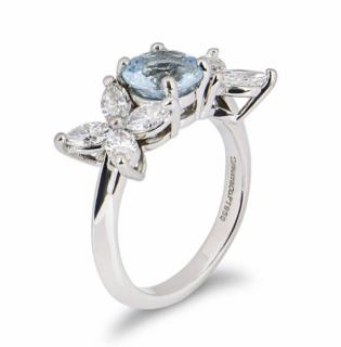 Tiffany & Co. Aquamarine & Diamond Ring