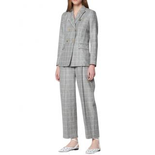 Sandro Grey Linen Blend Double Breasted Ankle Crop Suit