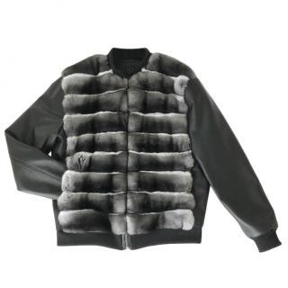FurbySD Chinchilla Fur Black Bomber Jacket