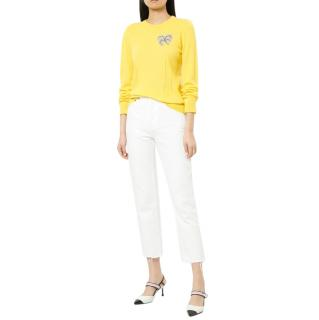 N�21 Embellished Yellow Cashmere Jumper