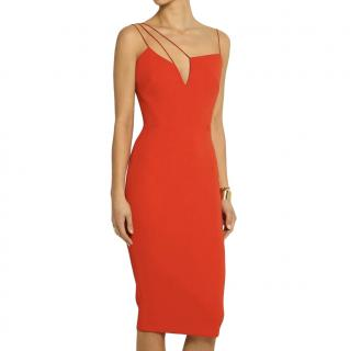 Victoria Beckham Red Crepe Asymmetric Strap Dress