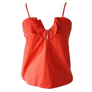 Carven Red Ruffle Cami Top