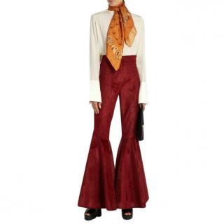 Ellery Jacuzzi high-rise ruffled cuff corduroy trousers