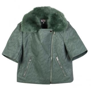 Shrimps Sage Green Faux Fur Trim Asymmetric Faux Leather Jacket