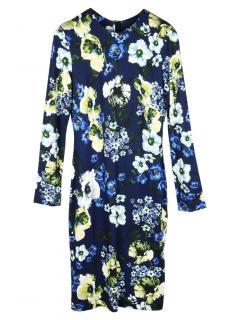 Erdem Blue Floral Print Stretch Jersey Dress