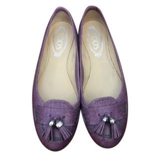 Tod's Purple Leather Tassle Ballet Flats