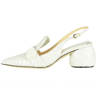 Anya Hindmarch Ivory Patent Quilted Sandals