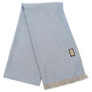 Gucci Blue & Grey Reversible Wool Scarf