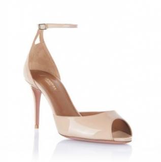Aquazzura Nude Patent Zoe 85 Sandals