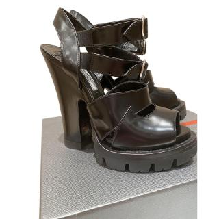 Prada Black Chunky Platform Sandals