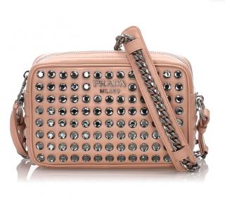 Prada Studded Diagramme Leather Crossbody Bag