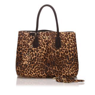 Prada Leopard Print Pony Hair Double Satchel
