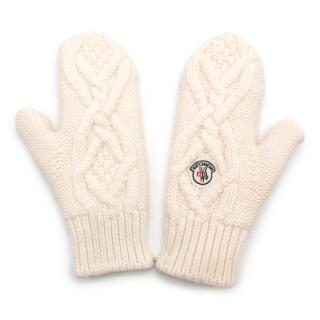 Moncler White Cable-Knit Wool Mittens