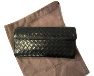 Bottega Veneta Black Intrecciato Leather Wallet