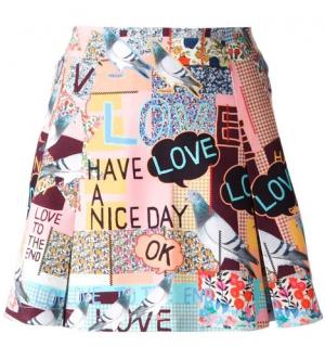 Markus Lupfer Pigeon Print Pleated Mini Skirt