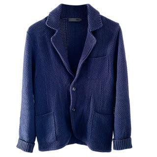 Alexander McQueen Blue Chunky Knit Cardigan