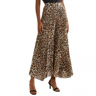 Alice and Olivia Katz Metallic Leopard Print Pleated Maxi Skirt