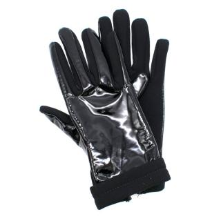 Miu Miu Patent Leather and Wool Blend Gloves