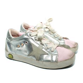 Golden Goose Kids Superstar Sneakers with Pink Toe