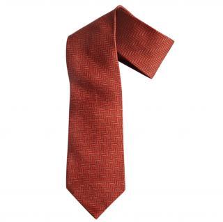 Bvlgari red silk jacquard  tie