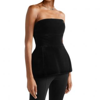 David Koma Strapless Black Velvet Peplum Top