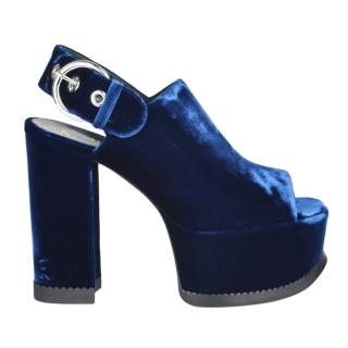 Mulberry Blue Velvet Buckle Detail Platform Sandals