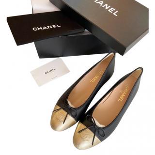Chanel Black & Gold Platform Ballerina Flats
