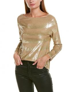 Giorgio Armani Sequin Striped Gold Top