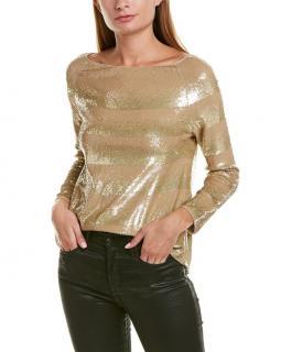 Giorgio Armani Sequin Striped Gold Top