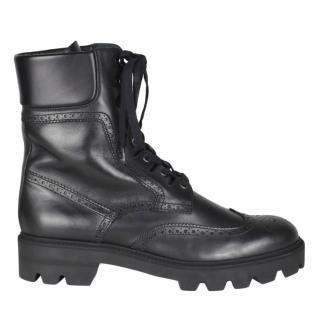 Mulberry Black Calf Leather Brogue Boots