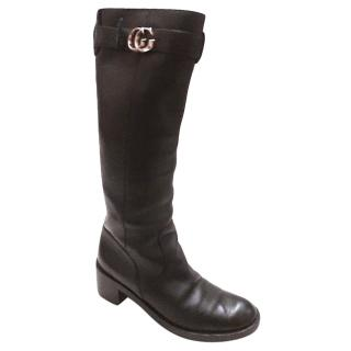 Gucci Black Leather Tall Boots