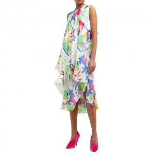 Balenciaga Watercolour Print Draped Ruffled Dress - New Season