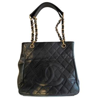 Chanel Black Caviar Leather Petite Shopping Tote