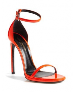 Saint Laurent Classic Neon Orange Jane Pumps