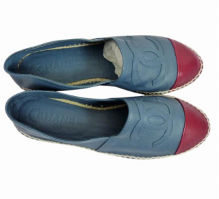 Chanel Blue & Red Leather CC Espadrilles