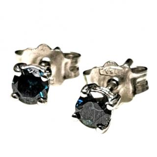 Bespoke Blue Diamond Solitaire Earrings