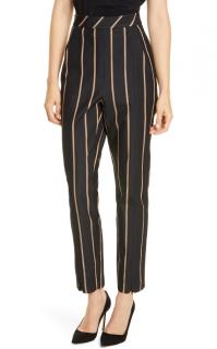 Self Portrait Black Striped Crop Pants