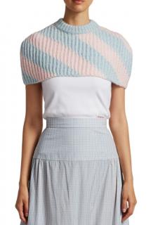 Calvin Klein 205W39NYC Blue Striped Mohair Blend Cape