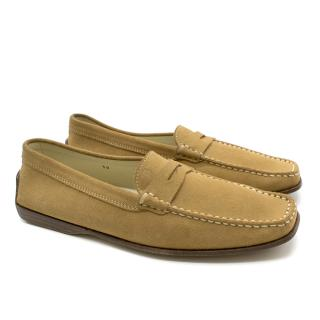 Tods Square-Toed Suede Loafers