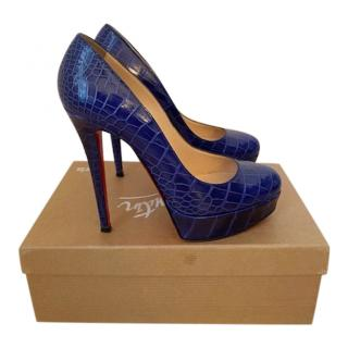 Christian Louboutin Blue Alligator Leather Bianca 140 Pumps